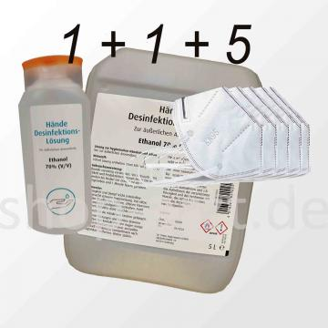 Paket 2: Händedesinfektion-Lösung Ethanol 70% (V/V) und Atemschutzmaske KN95 (entspr. FFP2) ohne Ausatemventil