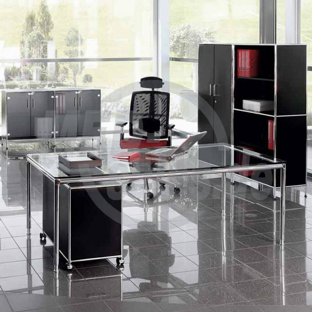 modul space schreibtisch mit glasplatte varitec medizintechnik. Black Bedroom Furniture Sets. Home Design Ideas